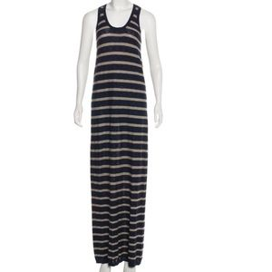 Vince Sleeveless Racerback Striped Maxi Dress